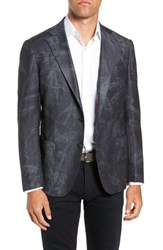 Culturata Trim Fit Washed Wool Blazer Navy