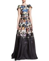 Naeem Khan Folded Cap Sleeve Degrade Organza Gown Black Blue