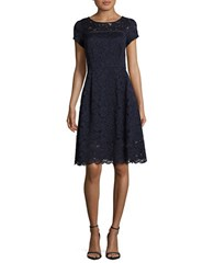 Ellen Tracy Short Sleeve Lace Fit And Flare Dress