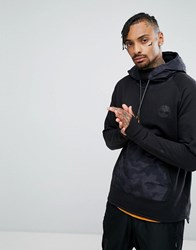 Timberland Oversized Hoodie Nylon Hood And Front Pocket In Black Black