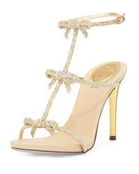 Bow Crystal T Strap Sandal Gold Rene Caovilla