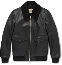 Burberry Brit Shearling Tried Textured Leather Jacket Black