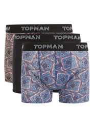 Topman Multi Assorted Colour Paisley Print Trunks 3 Pack