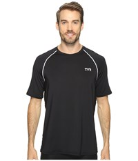 Tyr Short Sleeve Rashguard Black Men's Swimwear