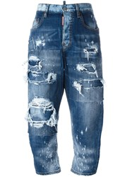Dsquared2 Kawaii Distressed Patchwork Jeans Blue