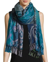 Sabira Hoggar Paisley And Check Wool Shawl Light Blue