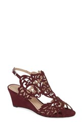 Klub Nico Marcela Laser Cutout Wedge Sandal Wine Leather