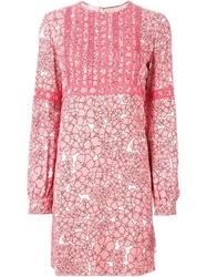 Giamba Long Sleeve Floral Print Dress Pink And Purple