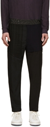 Ann Demeulemeester Black And Navy Patchwork Pants