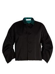 Toga Contrast Collar Satin Jacket Black