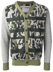 White Mountaineering Camouflage Cardigan Grey
