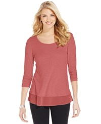 Style And Co Co. Chiffon Hem Top Only At Macy's Cream Blush