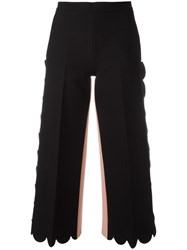 Msgm Escalloped Cropped Flared Trousers Black