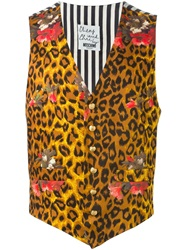 Moschino Vintage Leopard Print And Striped Gilet Brown