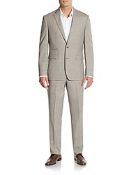 Vince Camuto Slim Fit Tonal Windowpane Check Wool Suit Grey