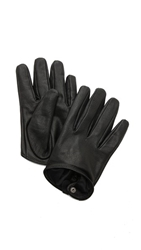 Carolina Amato Short Leather Gloves Black