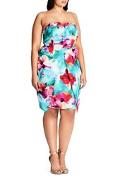 City Chic Plus Size Women's Lily Floral Strapless Sheath Dress