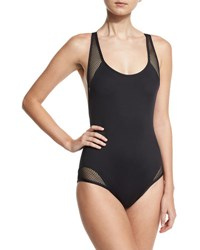 Carmen Marc Valvo Sporty Soul Mesh Zip Back One Piece Swimsuit Black