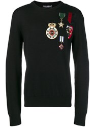 Dolce And Gabbana Embellished Pullover Sweatshirt Black