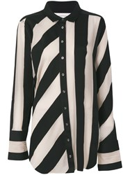 Marques Almeida Marques'almeida Striped Raw Edged Shirt Black