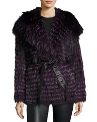 Gorski Belted Fox Fur Hooded Parka Coat Violet