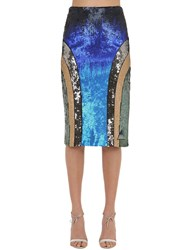 Sportmax Sequined Jersey Pencil Skirt Multicolor