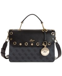 Guess Jacqui Top Handle Flap Small Satchel Coal