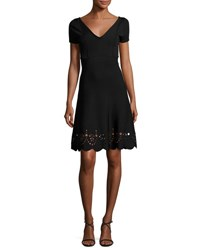 Red Valentino Short Sleeve Scalloped Eyelet Trim Dress Black