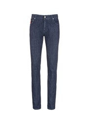 Isaia Logo Charm Stretch Selvedge Jeans Blue