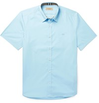 Burberry Stretch Cotton Poplin Shirt Blue