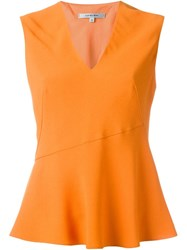 Carven Peplum Sleeveless Top Yellow And Orange