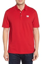 Cutter And Buck Big Tall New York Giants Advantage Regular Fit Drytec Polo Red