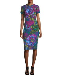 David Meister Fractured Floral Short Sleeve Sheath Dress Teal