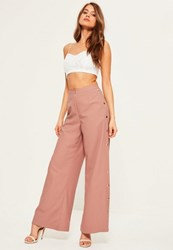 Missguided Nude Popper Side Detail Wide Leg Trousers