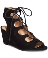 American Rag Suriya Lace Up Demi Wedge Sandals Only At Macy's Women's Shoes Black
