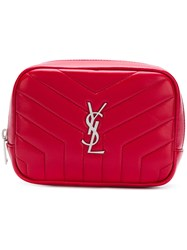 Saint Laurent Loulou Monogram Square Cosmetics Case Red