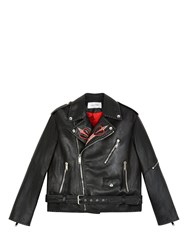 Valentino Leather Biker Jacket With Love Blade Embroidery Black