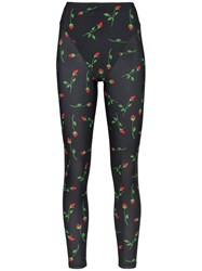 Adam Selman Sport Rose Print French Cut Leggings Black
