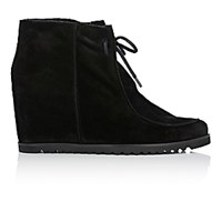 Barneys New York Women's Shearling Lined Wedge Ankle Boots Black Blue Black Blue