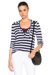 Frame Denim Nautical Henley Tee In Stripes Blue