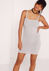 Missguided Square Neck Mini Dress Grey Grey