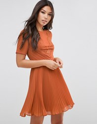 Asos Lace And Pleat Skater Mini Dress Caramel Brown