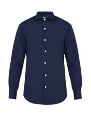 Finamore 1925 Seattle Cotton Poplin Shirt Navy