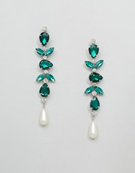 Asos Faux Pearl Jewel Strand Earrings Green