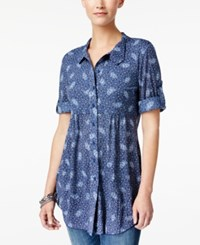 Style And Co Printed Roll Tab Blouse Only At Macy's Adventure Navy