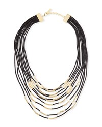 Lafayette 148 New York Long Signature Mesh Necklace With Metal Detail Black