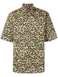 Roberto Cavalli Animal Print Button Up Shirt Yellow