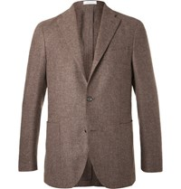 Boglioli Brown Slim Fit Wool Cotton And Cashmere Blend Blazer Brown