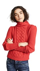 Bop Basics Cable Knit Turtleneck Sweater Tomato