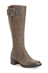 Paul Green Women's Kendra Knee High Buckle Boot Quartz Nubuck Leather